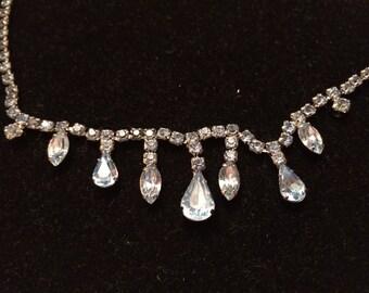 Gorgeous Ice Blue Rhinestone Necklace