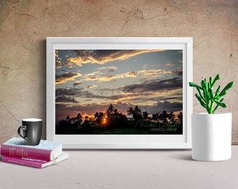 Caribbean Mountain Sunset, Caribbean Photo, Sunset Photography, Digital Download, Living Room Art, Tropical Landscape, Living Room Decor