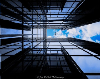 Look Up!.....Colour A4 print, Mounted. Urban art and a different view of a London building.