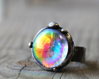 Fused glass ring,Dichroic glass ring,iridescent ring,rainbow ring,glass stained,tiffany,vitrage  ring,uniq gift for her