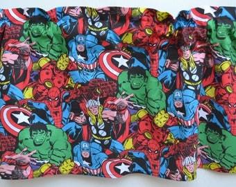 Marvel Avengers, Super Hero, Marvel Comic, Window Valance, Hulk, Iron Man, Thor, Spider Man, Window Treatment, Window Curtain, Valance, New