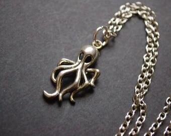 Silver tone octopus necklace