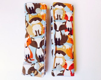 Forest Animals Strap Covers, Fox Strap Covers, Minky Car Seat Strap Covers, High Chair Strap Covers, Reversible Strap Covers, Couvre Sangles