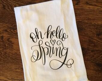 Hello Spring Tea Towel, Flour Sack Towel, Kitchen Towel, Gift