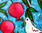 Peace Dove and Pomegranate Tree, Original Acrylic Painting, Painting on Canvas, 8X10 inch, Shalom Artwork, Peace Dove with Olive Branch