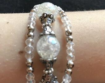 Clear / White Triple-Strand Bracelet