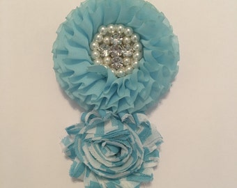 Turquoise and white headband with pearls and rhinestones