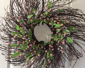 Summer berry wreath,Spring wreath,Floral wreath,Wreath for front door,Flower wreath.Everyday wreath
