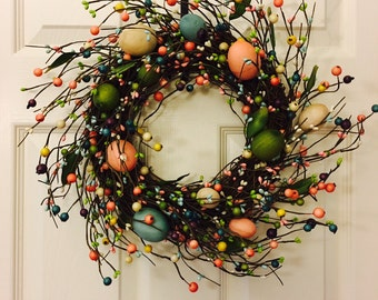 Easter Wreath-Easter decoration-Spring Wreath-Berry wreath- Egg wreath-Front door wreath