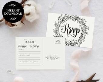 RSVP Postcard Template INSTANT DOWNLOAD, Editable pdf, rsvp Cards, rsvp Postcard, rsvp template, wedding rsvp cards - Audrey