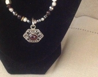 Sterling Silver, Crystal Bead,and Pearl Necklace with Sterling Pendant & Gem