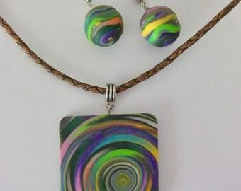 Multicoloured Square Pendant and Earring Set