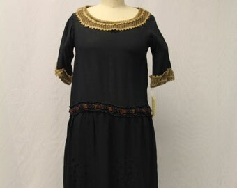 1920's  Black, Mid-Sleeve Dress with Brown Tulle Trimmings and Embroidered Detail