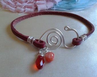 Red Women leather bracelet