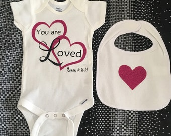 Onesie and Bib You are Loved, Romans