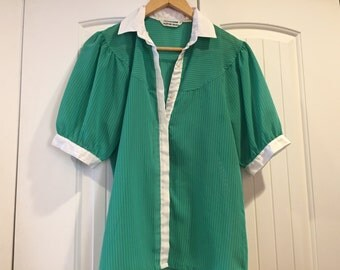 Cute see threw green with lines blouse for the ladies size M