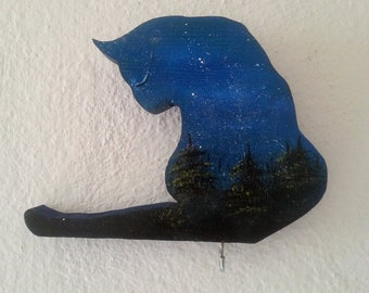 Cat key hanger, cat wall hanging, cat hand painted, cat key holder, cat home decor, cats accessories, cat wood art, cat lover gift, blue cat