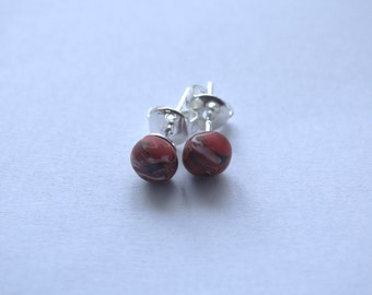 Handmade Silver Polymer Clay Stud Earrings