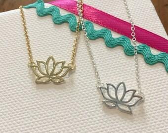 Necklace flower of Lotus, minimalist