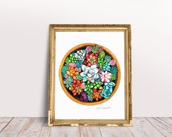Watercolor Succulent Art Print