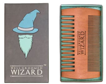 Beard Comb, Wooden Anti Static Double Sided Beard and Hair Comb by Well Groomed Wizard
