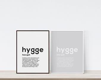 Hygge print, Definition printable, Hygge decor, Typography print, Hygge definition, Hygge wall art, Hygge home decor, Definition print
