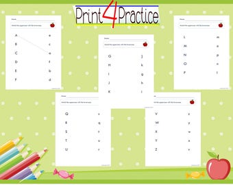 matching uppercase to lowercase letters, recognizing letters practice worksheets, all 26 letters of alphabet included, digital download