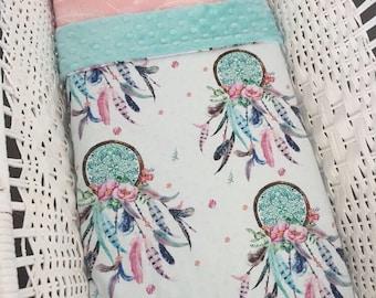 Dream Catcher Minky Bassinet / Pram Blanket - perfect gift