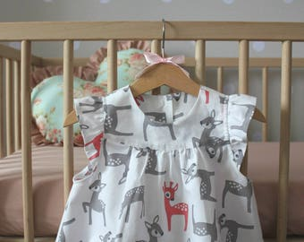 Cotton baby girl deers top, White top for baby girl, Baby girl summer clothing, Cotton deers top, White summer top, Toddler summer clothing
