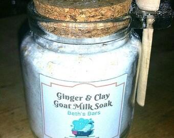 8OZ GINGER BATH SOAK, Ginger Bath Salts, Goat Milk Bath Soak, Oatmeal Bath Soak, Milk Bath, Ginger Clay Bath Soak, Ginger Bath Powder, Soak
