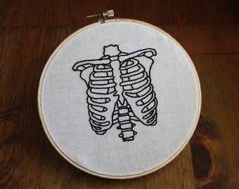 Rib Cage Embroidery - Hand Embroidered Rib Cage - Skeleton Embroidery - Hand Embroidered Hoop Art - Embroidered Bones - Skeletal Decor