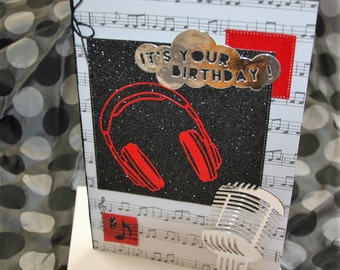 Hand made birthday card, microphone and earphones, red or blue for men or ladies, musical theme for singer or DJ.