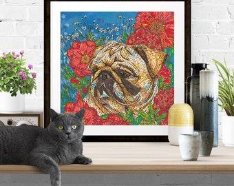 Giclee Print - 'Pug in Peonies' Dog Art Print