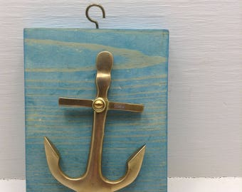 Rare Vintage Estate Mid Century Folk Art Brass Anchor Nautical Decor Marine Ocean Blue