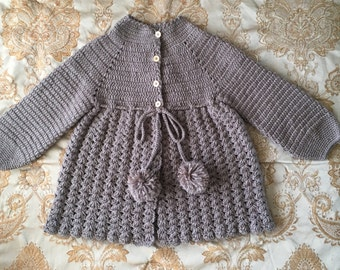 Baby Girl Hand Made Knit Cardigan in Dusty Purple