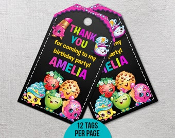 Shopkins Thank You Tags, Shopkins Birthday Decor, Shopkins Party Favor, Shopkin Printables, Shopville Printable Gift Label, Goody Bag Tag