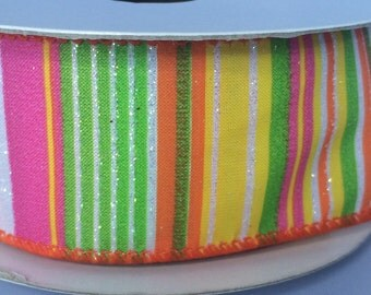 Wire Edged  Striped ribbon