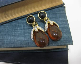 Corocraft Amber Colored Plastic Drop Clip On Earrings with Rhinestones