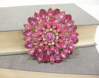 Vintage pink & Aurora Borealis Rhinestone Flower Brooch