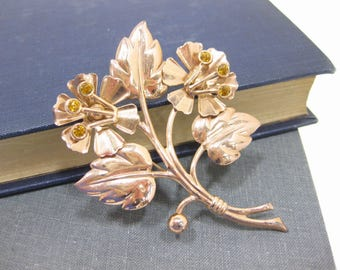 Sterling & Rose Gold Vermeil Floral Rhinestone Brooch