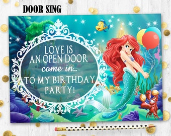 Little mermaid Ariel Door sign Mermaid Ariel birthday decoration