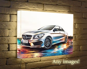 Backlit Mercedes Benz, Night Light, home decor, Gift For Him, wall  lamp,  Lighting poster, Light Box, LightBox, luminated  Poster