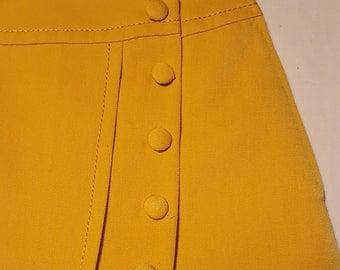 1970 's original corn yellow Skirt gabardine;