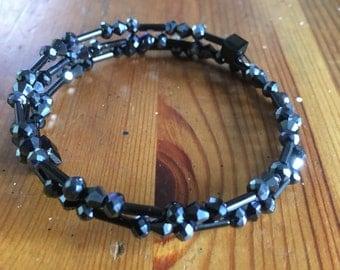 Black Memory Wire Bracelet