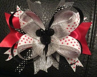 Disney inspired stacked hair bow on aligator clip