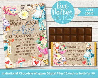 Alice In Wonderland Inspired Personalised Digital Birthday Invitation & Chocolate Candy Bar Wrapper Printable DIY