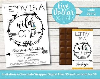 Wild One Monochrome Tribal Boho Personalised Digital First Birthday Invitation & Chocolate Candy Bar Wrapper