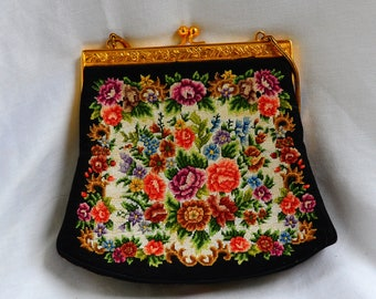 Vintage Embroidered Purse, Clutch, Black/ Hand Embroidered Flowers, Tapestry Purse  , Petit point