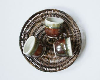 Vintage Set of 3 Ceramic Glazed Cups - Ceramics - Ceramics cups - Glazed Ceramics