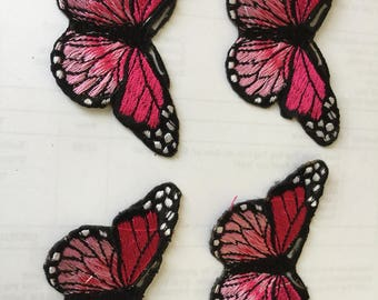 Dark Pink Buterfly Set 4 Embroidered Patch  Iron Or Sew